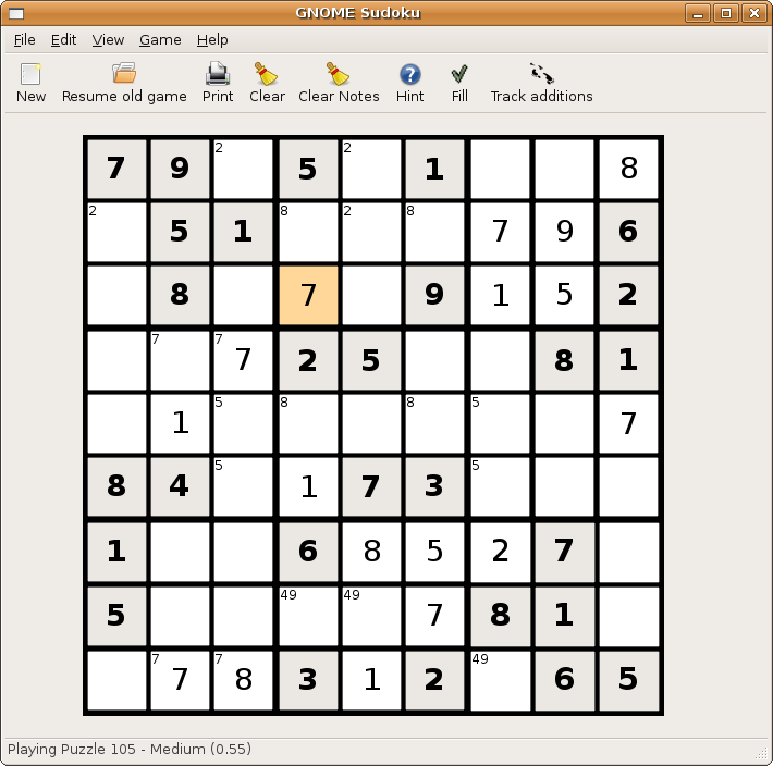 GNOME Sudoku screenshot